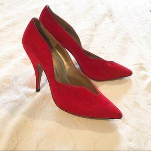 Vintage   90's Red Suede Stiletto Heels
